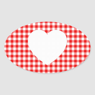 White Heart on Red Gingham Oval Sticker