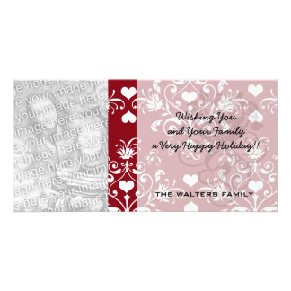 white heart on red romantic love damask photo card template