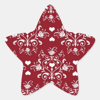 white heart on red romantic love damask star sticker