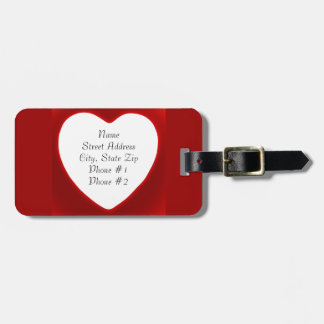 White Heart on Red Two-sided Address Luggage Tag