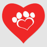 White Heart Paw Print Heart Stickers