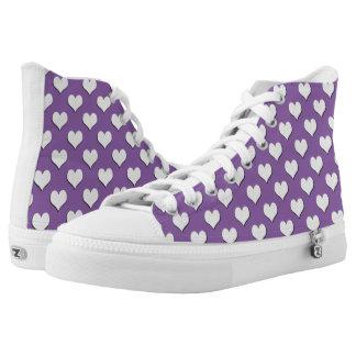 White Heart Polka Dot Pattern on Purple High Tops