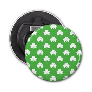 White Heart-Shaped Clover on Green St. Patrick's Bottle Opener