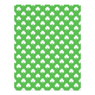 White Heart-Shaped Clover on Green St. Patrick's Personalized Flyer