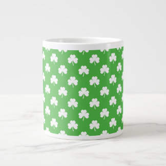 White Heart-Shaped Clover on Green St. Patrick's Large Coffee Mug