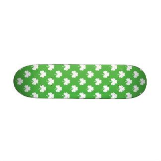 White Heart-Shaped Clover on Green St. Patrick's Custom Skate Board