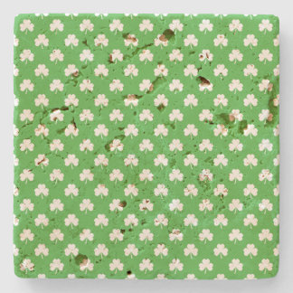 White Heart-Shaped Clover on Green St. Patrick's Stone Coaster