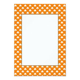 White Heart-Shaped Clover on Orange St. Patrick's 13 Cm X 18 Cm Invitation Card