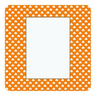 White Heart-Shaped Clover on Orange St. Patrick's 13 Cm X 13 Cm Square Invitation Card