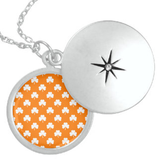 White Heart-Shaped Clover on Orange St. Patrick's Pendant
