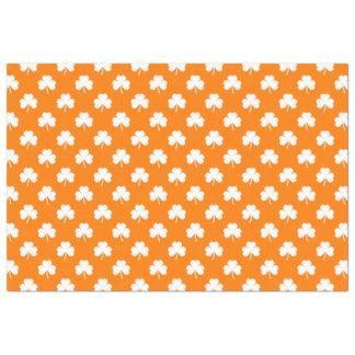 White Heart-Shaped Clover on Orange St. Patrick's Tissue Paper