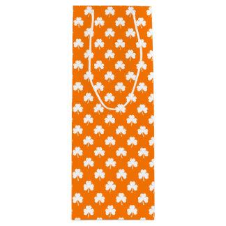 White Heart-Shaped Clover on Orange St. Patrick's Wine Gift Bag