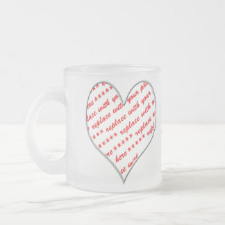 White Heart Shaped Photo Frame Frosted Glass Mug