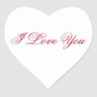 White Heart Sticker - I Love You