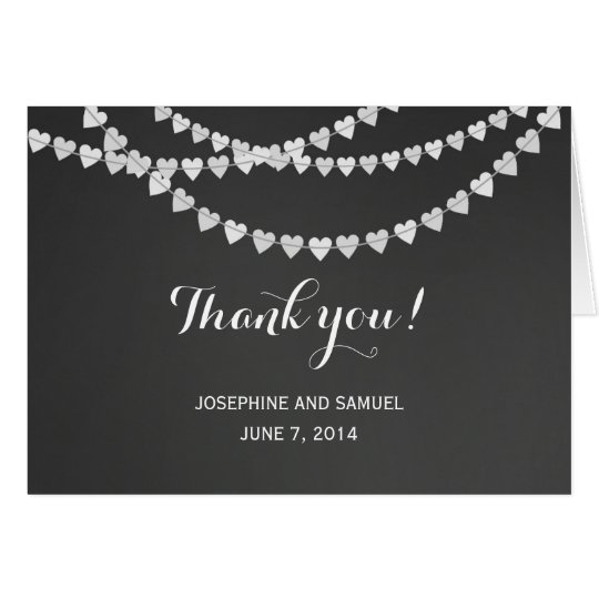 White Heart String Chalkboard Thank You Cards