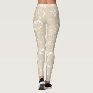 White hearts <3 leggings