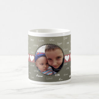 White Hearts Circle Photo Frame Valentine Mugs