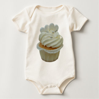 White hearts cupcake baby clothing bodysuit