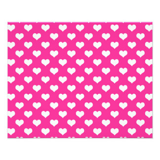 """White Hearts Hot Pink Background """"Polka Dot"""" Heart Photographic Print"""