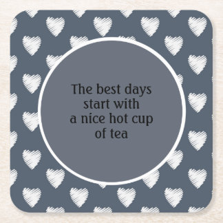 White Hearts Navy Blue Cup of Tea Square Paper Coaster