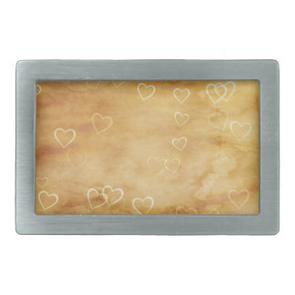 White Hearts of Tea Stained Parchment Rectangular Belt Buckles