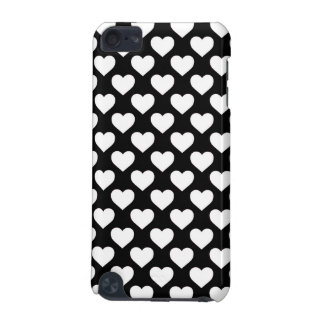 White Hearts on Black Background iPod Touch (5th Generation) Cases