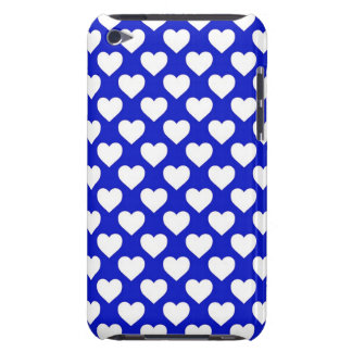 White Hearts on Blue Background iPod Case-Mate Case