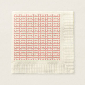 White Hearts on Blush Pink Disposable Serviettes