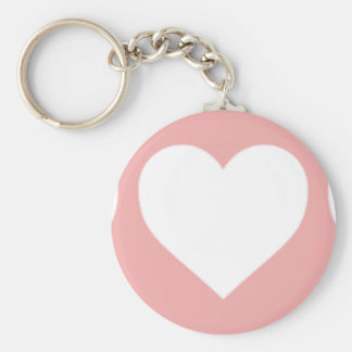 White Hearts on Blush Pink Keychains