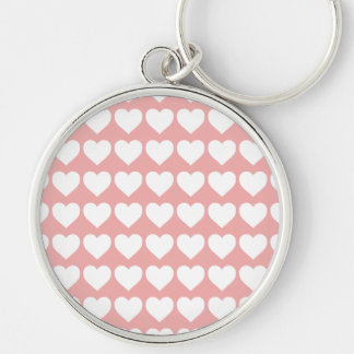 White Hearts on Blush Pink Keychain