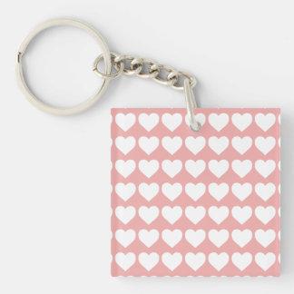 White Hearts on Blush Pink Single-Sided Square Acrylic Key Ring