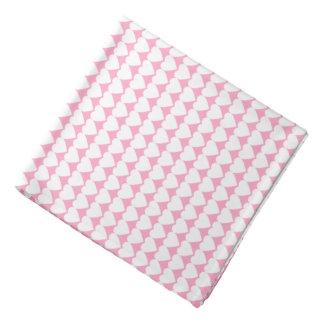 White Hearts on Carnation Pink Bandanna