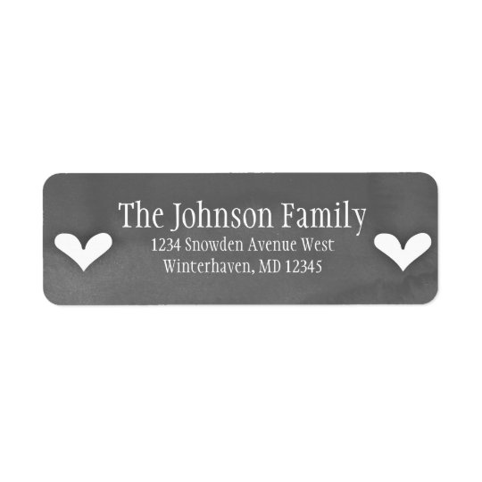 White Hearts on Grey Watercolor - Custom Labels