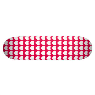 White Hearts on Lipstick Pink Skate Board Deck