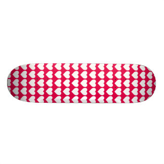 White Hearts on Lipstick Pink Skateboard