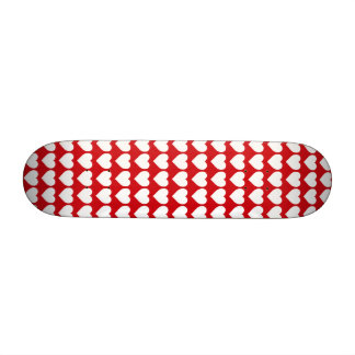 White Hearts on Lipstick Red Custom Skate Board