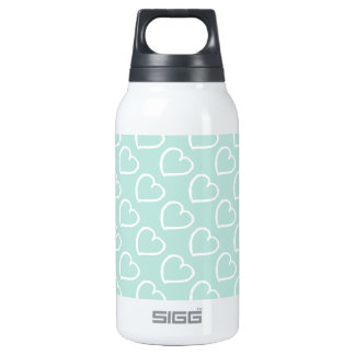 White hearts on pastel blue insulated water bottle