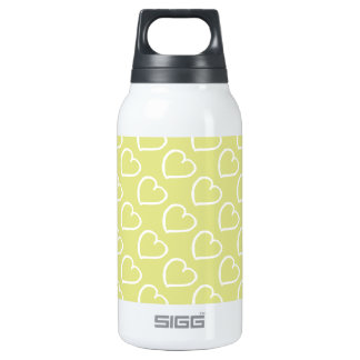 White hearts on pastel green insulated water bottle
