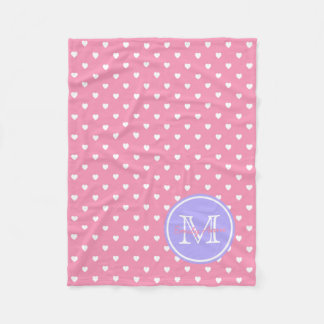 White Hearts on Pink With Blue Lilac Monogram Fleece Blanket