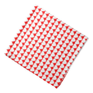 White Hearts on Red Head Kerchief