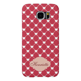 White Hearts on red Valentines Day custom Monogram Samsung Galaxy S6 Cases