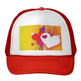 White Hearts Orange Whimsy Trucker Hat