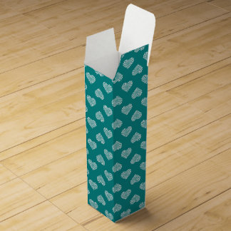 White Hearts Teal Pattern Wine Gift Box