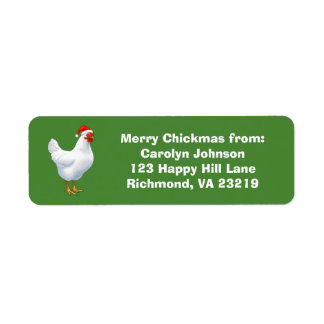 White Hen in Santa Hat Merry Chickmas Return Address Label