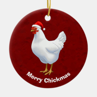 White Hen in Santa Hat Merry Chickmas Round Ceramic Decoration