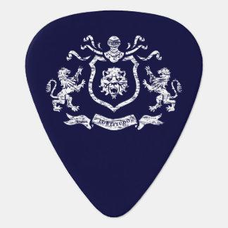 White Heraldic Lions Guitar Pick