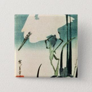 White Heron and Iris 15 Cm Square Badge