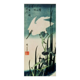 White Heron and Iris Poster