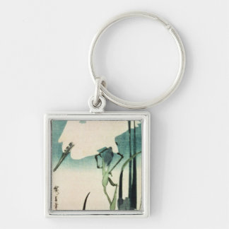 White Heron and Iris Silver-Colored Square Key Ring