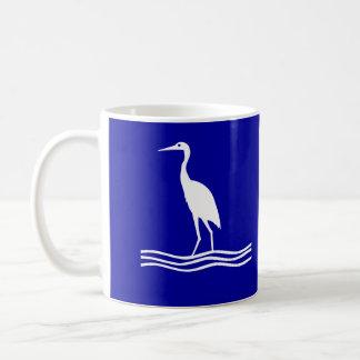 White Heron Bird Blue Coffee Mug